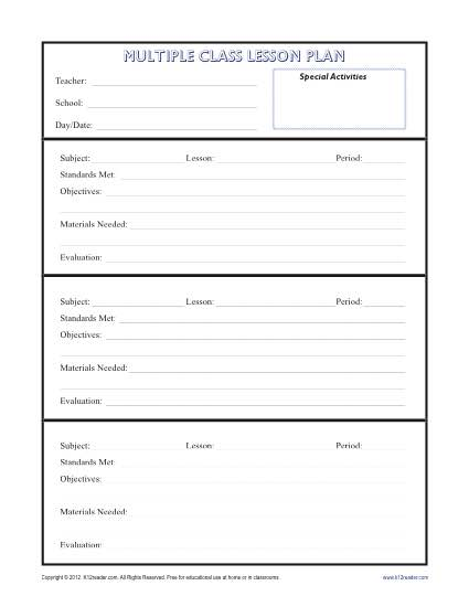 Daily MultiClass Lesson Plan Template Secondary - Blank daily lesson plan template