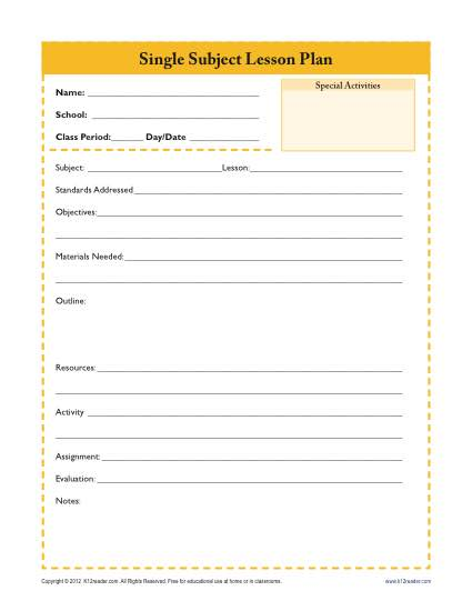 Daily Single Subject Lesson Plan Template U2013 Secondary