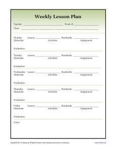 Detailed (secondary) Weekly Lesson Plan Template