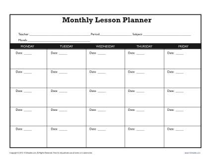 Monthly Lesson Plan Template Secondary - Monthly lesson plan template
