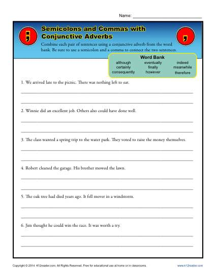 Worksheet For Commas And Semicolons Livinghealthybulletin