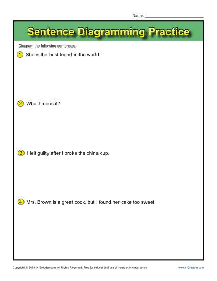 Sentence Diagramming Printable Activity - Practice