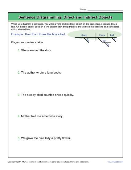 Diagramming sentences worksheets direct and indirect objects diagramming sentences practice direct and indirect objects ccuart Image collections