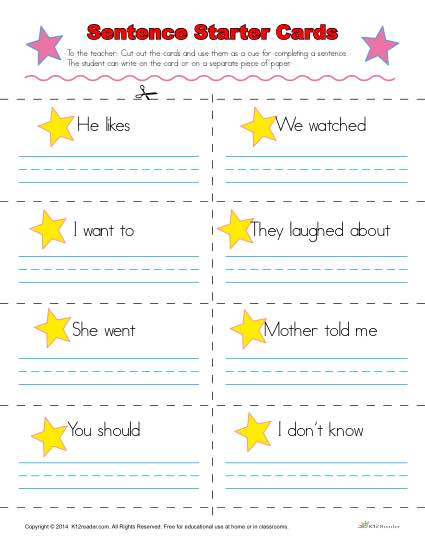 Sentence Starters Cards For Kindergarten And 1st Grade