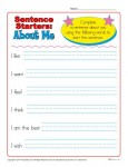 Sentence Starter Printable Activity - About Me