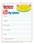 Sentence Starter Worksheet - My Opinion