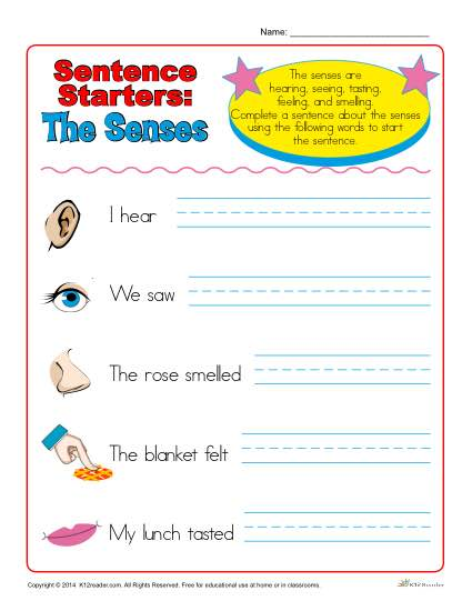 Sentence Starter Worksheet about the Senses