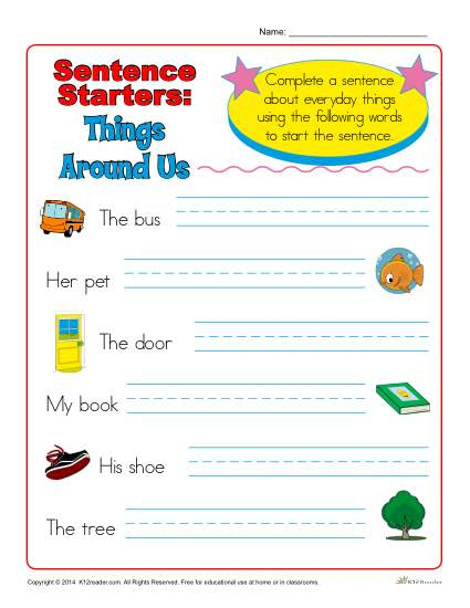 Sentence Starter Activity - Things Around Us