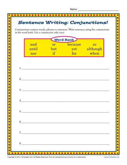 Free worksheets on conjunctions for grade 7