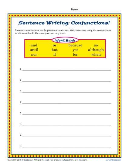 Sentence Writing Comjunctions 3rd Grade Conjunction Worksheets