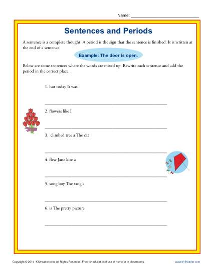 Ending Punctuation Worksheet Activity - Sentences and Periods