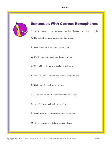 Identify Which Sentences Use Homophones Correctly