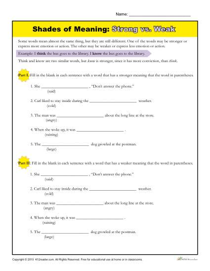 Shades of Meaning Worksheet | Strong vs. Weak