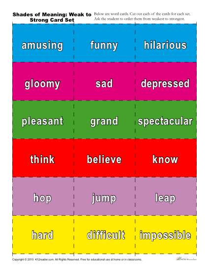 Printable Shades of Meaning Vocabulary Activity