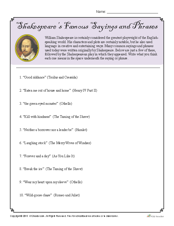 shakespeare s famous sayings and phrases worksheet. Black Bedroom Furniture Sets. Home Design Ideas