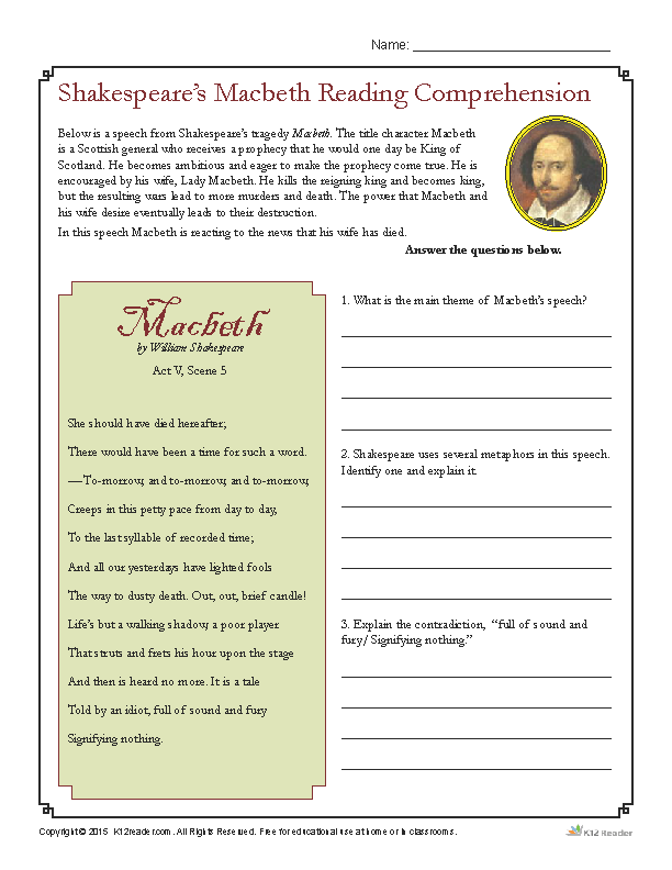 Shakespeare's Macbeth Reading Prehension Worksheet. Shakespeare's Macbeth Reading Prehension. High School. Reading Prehension Worksheets For High School At Clickcart.co