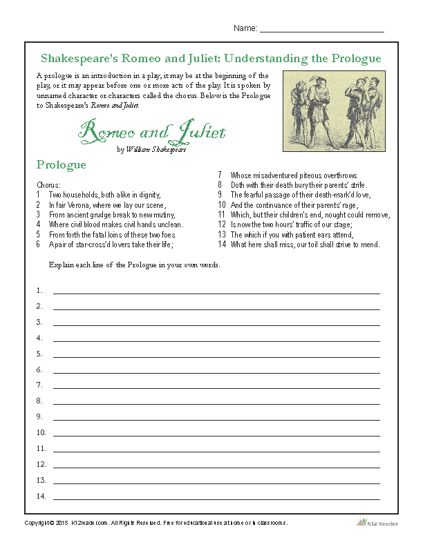 Printable Shakespeare Activity - Romeo and Juliet - Understanding The Prologue