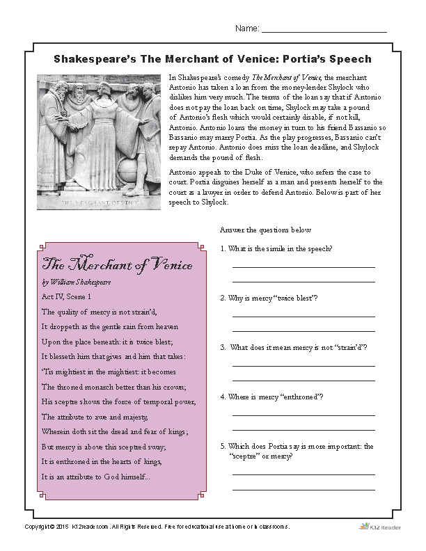 Printable Shakespeare Worksheet Activity - The Merchant of Venice Portia's Speech