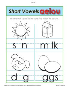 Short Vowel Worksheet Practice Activity for Kids