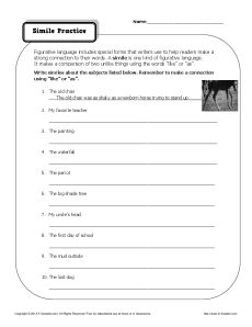 Simile Practice - Figurative Language Worksheet Practice Activity