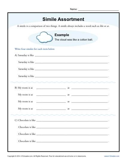 Simile Assortment | 4th and 5th Grade Worksheets