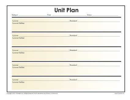 Simple Unit Lesson Plan Template Reading Worksheets Spelling
