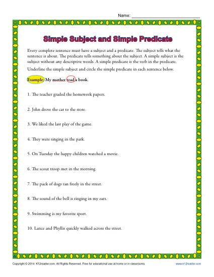 Simple Subject and Simple Predicate | 3rd Grade Worksheets