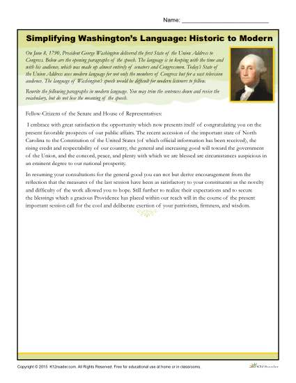 Washington's Birthday Printable Activity - Simplifying Washington's Language from Historic to Modern