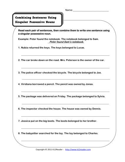 Possessive Nouns Worksheet | Singular possessive nouns, Possessive ...