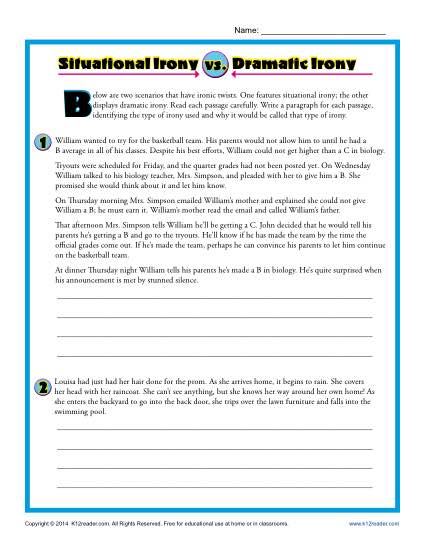 Situational vs. Dramatic Irony - Worksheet Practice Activity