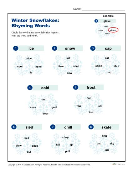 winter snowflakes activity worksheet rhyming words. Black Bedroom Furniture Sets. Home Design Ideas