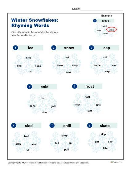 Winter Snowflakes Activity Worksheet | Rhyming Words