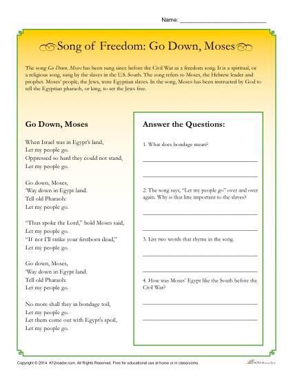Go Down, Moses Printable Worksheet