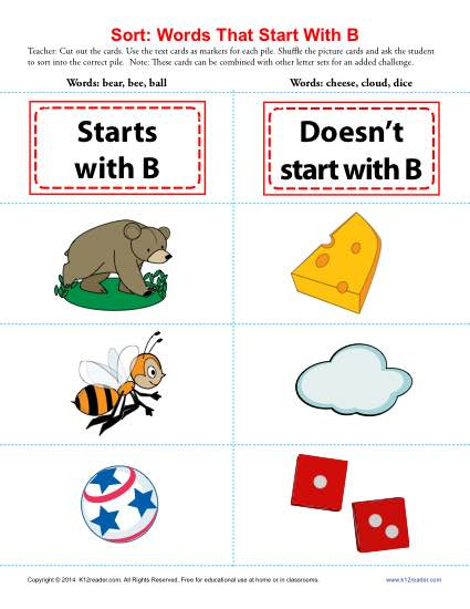 Words Starting With B | Beginning Consonant Worksheets