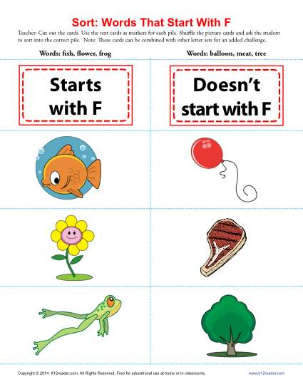 four letter f words words starting with f beginning consonant worksheets 21803