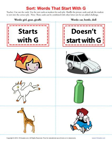 preschool words that start with g words starting with g beginning consonant worksheets 402