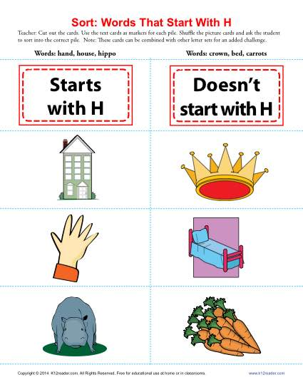 words that begin with the letter h words starting with h beginning consonant worksheets 636
