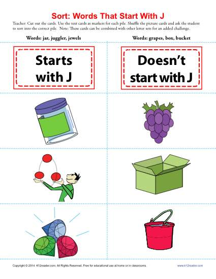 Words Starting With J | Beginning Consonant Worksheets