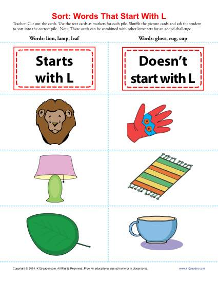 words starting with l | beginning consonant worksheets