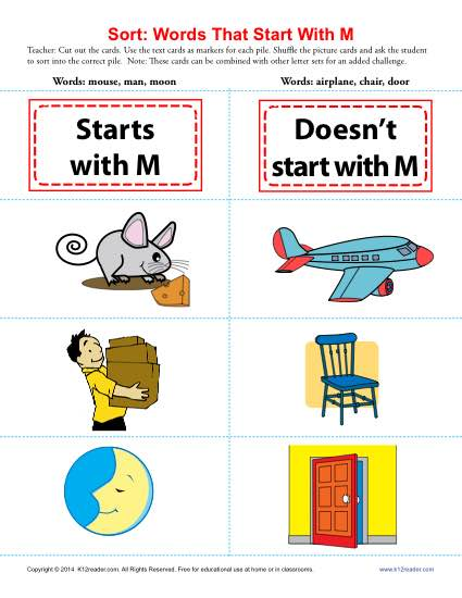Sort the Words That Start With The Letter M - Printable Worksheet Lesson Activity