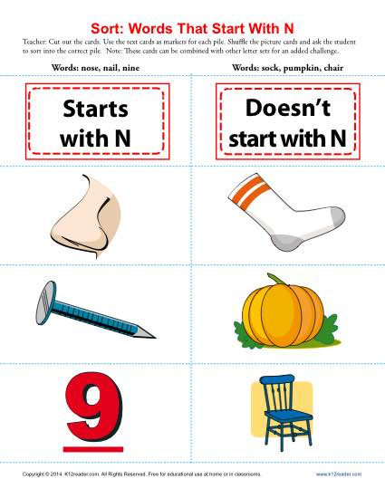 words that start with the letter n words starting with letter n beginning consonant worksheets 25735
