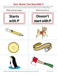 Sort the Words That Start With The Letter P - Printable Worksheet Lesson Activity