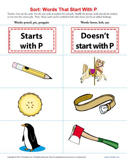 Words starting with letter p beginning consonant worksheets