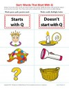 Consonant Sort: Words That Start With Q