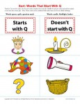 Sort the Words That Start With The Letter Q - Printable Worksheet Lesson Activity