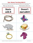 Sort the Words That Start With The Letter R - Printable Worksheet Lesson Activity
