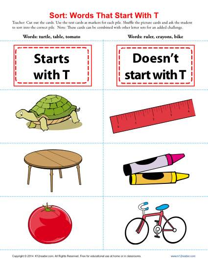 Words Starting With Letter T | Beginning Consonant Worksheets