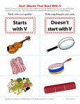 Sort the Words That Start With The Letter V - Printable Worksheet Lesson Activity