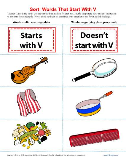 Words Starting With Letter V | Beginning Consonant Worksheets
