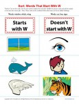 Sort the Words That Start With The Letter W - Printable Worksheet Lesson Activity